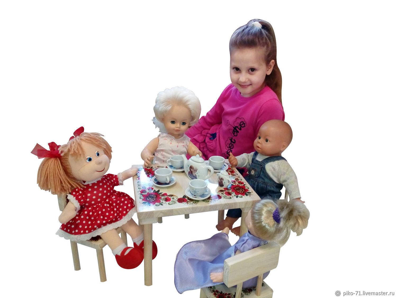 """Стол и 4 стула для куклы до 50 см (рис """"Цветы""""), Мебель для кукол, Тула,  Фото №1"""