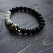 Украшения handmade. Livemaster - original item Bracelet of natural stone with lion head made of bronze Handicrafts. Handmade.
