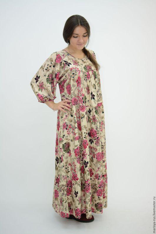 """Платья ручной работы. Ярмарка Мастеров - ручная работа. Купить Платье классика """"Дуновение"""". Handmade. Бежевый, платье со цветами"""