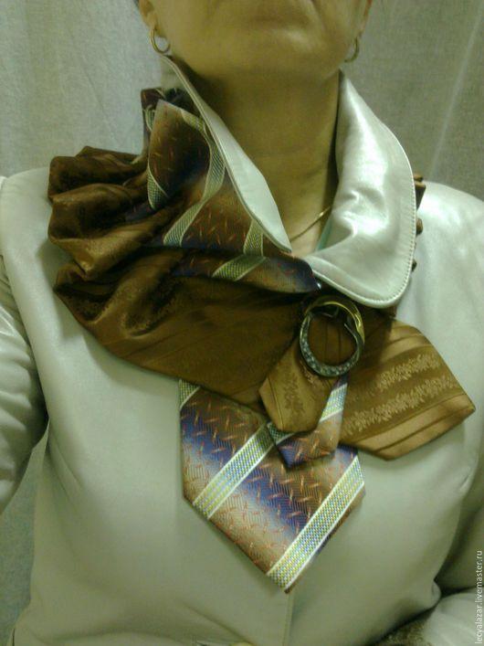 Воротнички ручной работы. Ярмарка Мастеров - ручная работа. Купить Украшение из винтажных галстуков. Handmade. Коричневый, воротник, винтаж