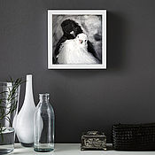 Картины и панно handmade. Livemaster - original item Doves, oil Painting, 20h20cm, Two, Lovers, Couple. Handmade.