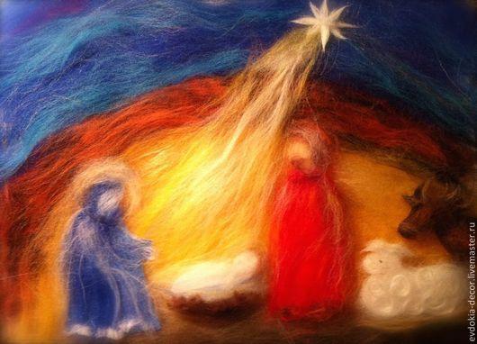 Люди, ручной работы. Ярмарка Мастеров - ручная работа. Купить Рождество! Картина из шерсти. Handmade. Картина в подарок, картина для интерьера