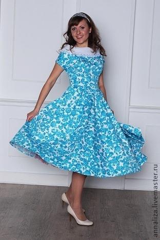 """Платья ручной работы. Ярмарка Мастеров - ручная работа. Купить Платье в стиле 50-х """"Морозное утро"""". Handmade."""