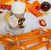 Свадебный салон ручной работы. Ярмарка Мастеров - ручная работа Свадебное оформление свечей:``Магия осени``. Handmade.