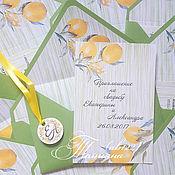 Свадебный салон ручной работы. Ярмарка Мастеров - ручная работа Лимонная свадьба-приглашение в конверте. Handmade.
