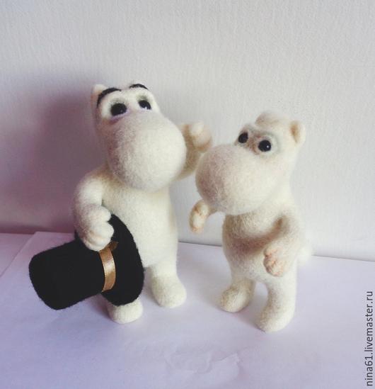 Сказочные персонажи ручной работы. Ярмарка Мастеров - ручная работа. Купить Муми-папа и Муми Тролль, войлочные игрушки. Handmade.