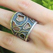 Украшения handmade. Livemaster - original item Abstract ring with original design made of 925 sterling silver VA0011. Handmade.