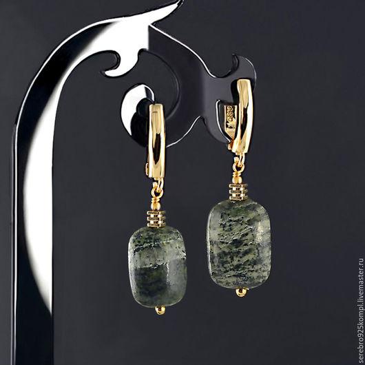 Серьги ручной работы. Ярмарка Мастеров - ручная работа. Купить Серьги НАТУРАЛЬНЫЙ ХРИЗОТИЛ шикарный рисунок натурального камня. Handmade.