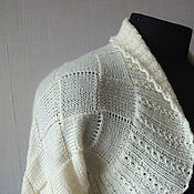 """Одежда ручной работы. Ярмарка Мастеров - ручная работа Шраг """"Белый с ажуром"""", шерсть, энтерлак. Handmade."""
