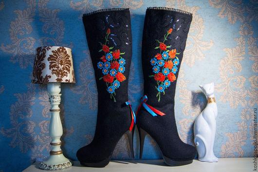 """Обувь ручной работы. Ярмарка Мастеров - ручная работа. Купить Валенки """"Павловопосад"""". Handmade. Сапоги женские, народная традиция, цветы"""