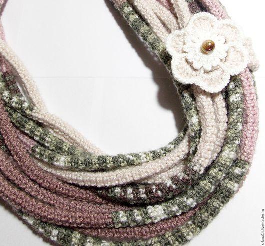 Колье, бусы ручной работы. Ярмарка Мастеров - ручная работа. Купить Вязаный шарф-колье со съемной брошью Настроение цвета пыльной розы. Handmade.