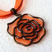 Украшения handmade. Livemaster - original item Pendant orange rose. Handmade.