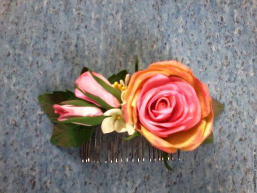"""Заколки ручной работы. Ярмарка Мастеров - ручная работа. Купить Заколка для волос из фоамирана с розой - """"Виктория"""". Handmade. Бледно-розовый"""