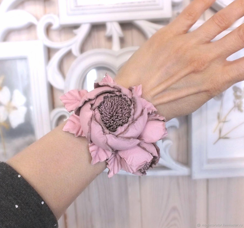 Кожаный браслет ручной работы с цветами Танец Роз Пудровый Розовый, Браслет из бусин, Санкт-Петербург,  Фото №1