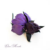Украшения handmade. Livemaster - original item Iris purple flower leather brooch large. Handmade.