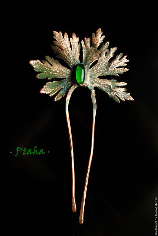 Заколки ручной работы. Ярмарка Мастеров - ручная работа. Купить гребень с зеленой каплей. Handmade. Зеленый, медный лист, гальваника