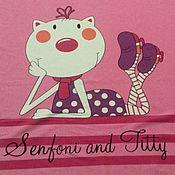 Интерлок купон Кошка на розовом