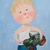 """Картины и панно ручной работы. Ярмарка Мастеров - ручная работа Живопись для детей картина """"Моя машина!"""". Handmade."""