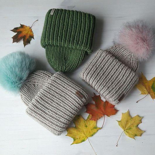 Шапки ручной работы. Ярмарка Мастеров - ручная работа. Купить Объёмная шапочка из толстой пряжи с двойным отворотом. Handmade.