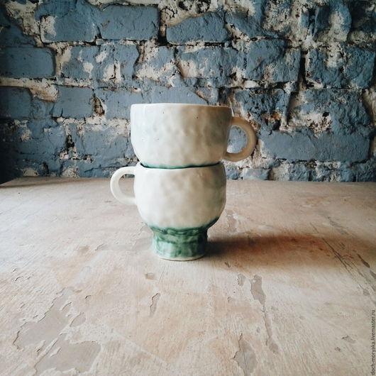"""Кружки и чашки ручной работы. Ярмарка Мастеров - ручная работа. Купить кружки """"белый и бирюзовый"""". Handmade. Белый, посуда"""