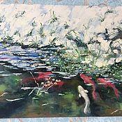 Картины и панно handmade. Livemaster - original item Oil painting. Koi fish in the pond.. Handmade.