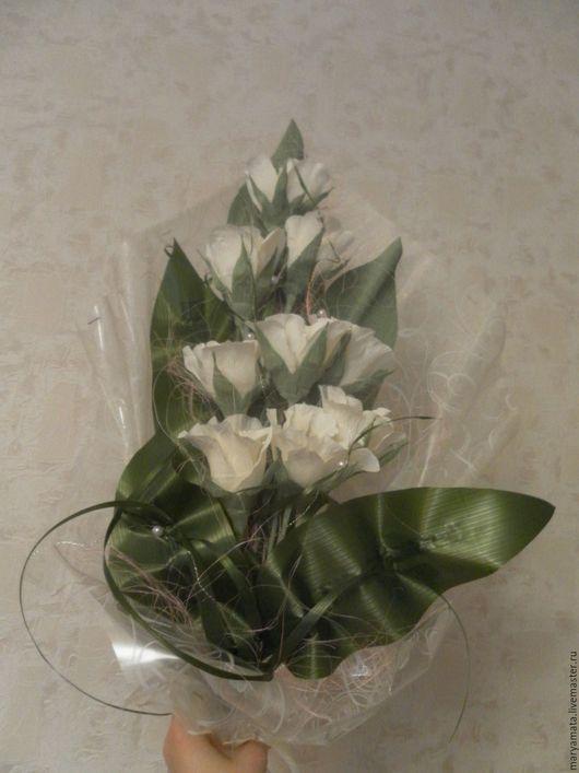 Букеты ручной работы. Ярмарка Мастеров - ручная работа. Купить Белые розы. Handmade. Комбинированный, букет из конфет, белые розы