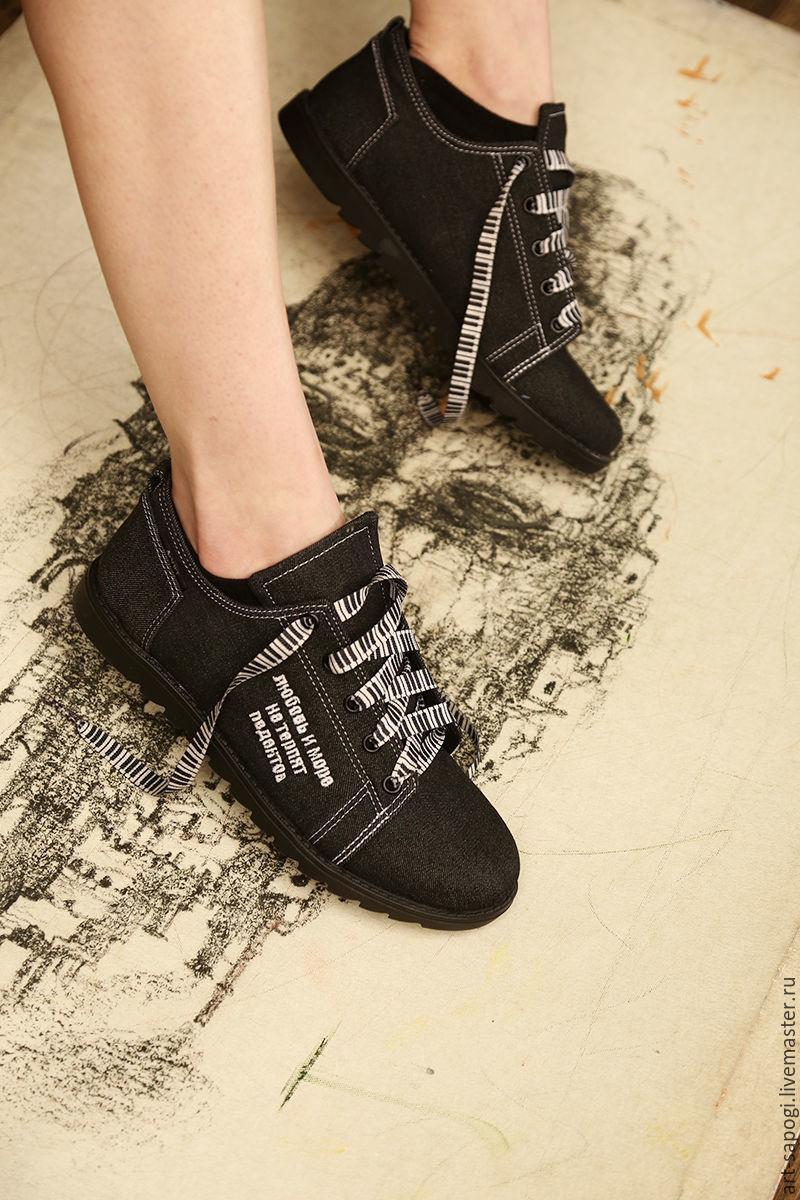 Обувь ручной работы. Ярмарка Мастеров - ручная работа. Купить Джинсовые кеды 12-401-В20-s56 (СЧ). Handmade.