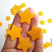 Материалы для творчества handmade. Livemaster - original item Felt: Small yellow stars made of felt 50 pieces. Price per set.. Handmade.