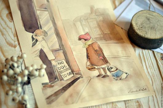 """Люди, ручной работы. Ярмарка Мастеров - ручная работа. Купить Акварель, картина , живопись ню Акварельная картина """"Бисквит для друга. Handmade."""