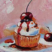 Картины и панно handmade. Livemaster - original item Product copy Oil Painting Cupcake 20/15 cm.. Handmade.