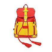 Сумки и аксессуары handmade. Livemaster - original item Backpacks: Women`s Leather Backpack Bag red and Yellow Esta Mod SR13m-792. Handmade.
