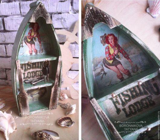 """Прихожая ручной работы. Ярмарка Мастеров - ручная работа. Купить Ключница-лодка """"Рыбачка Соня"""". Handmade. Комбинированный, для ключей"""