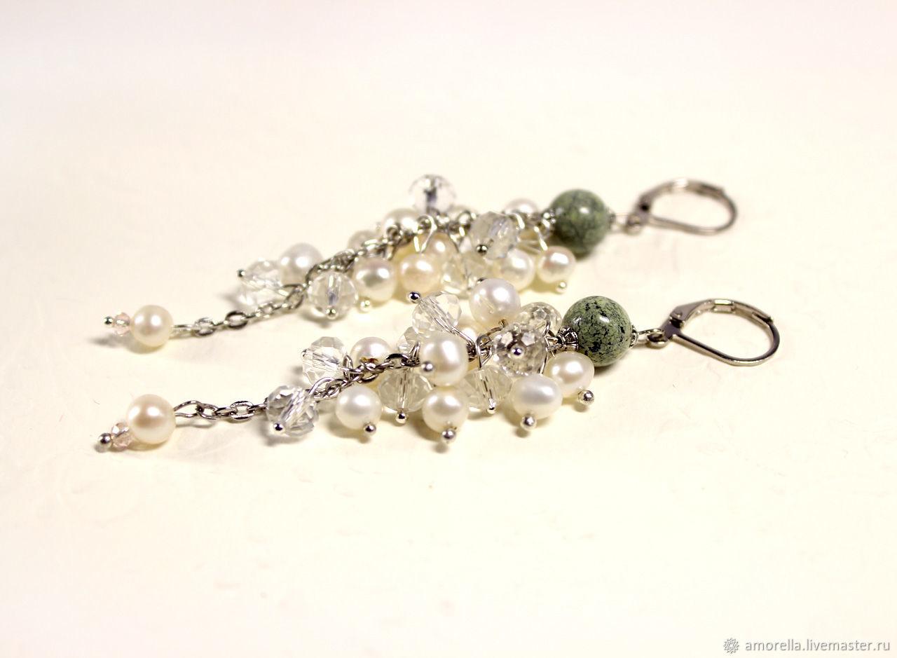 Long Pearl Earrings 'Winter Forest' Chain Earrings, Earrings, Tver,  Фото №1