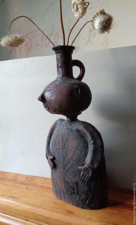 Керамическая ваза-статуэтка ручной работы.Глазури,ганозис, Вазы, Санкт-Петербург,  Фото №1