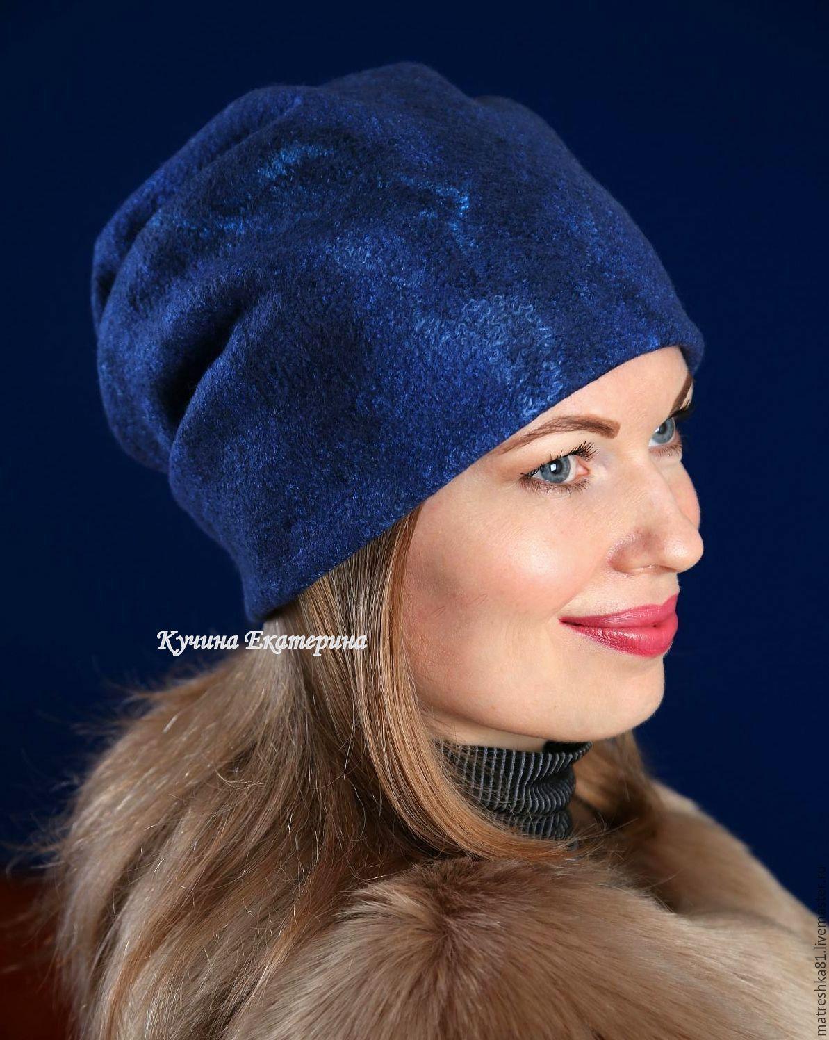 The hat felted.female.blue.transformer, Caps, Khabarovsk,  Фото №1