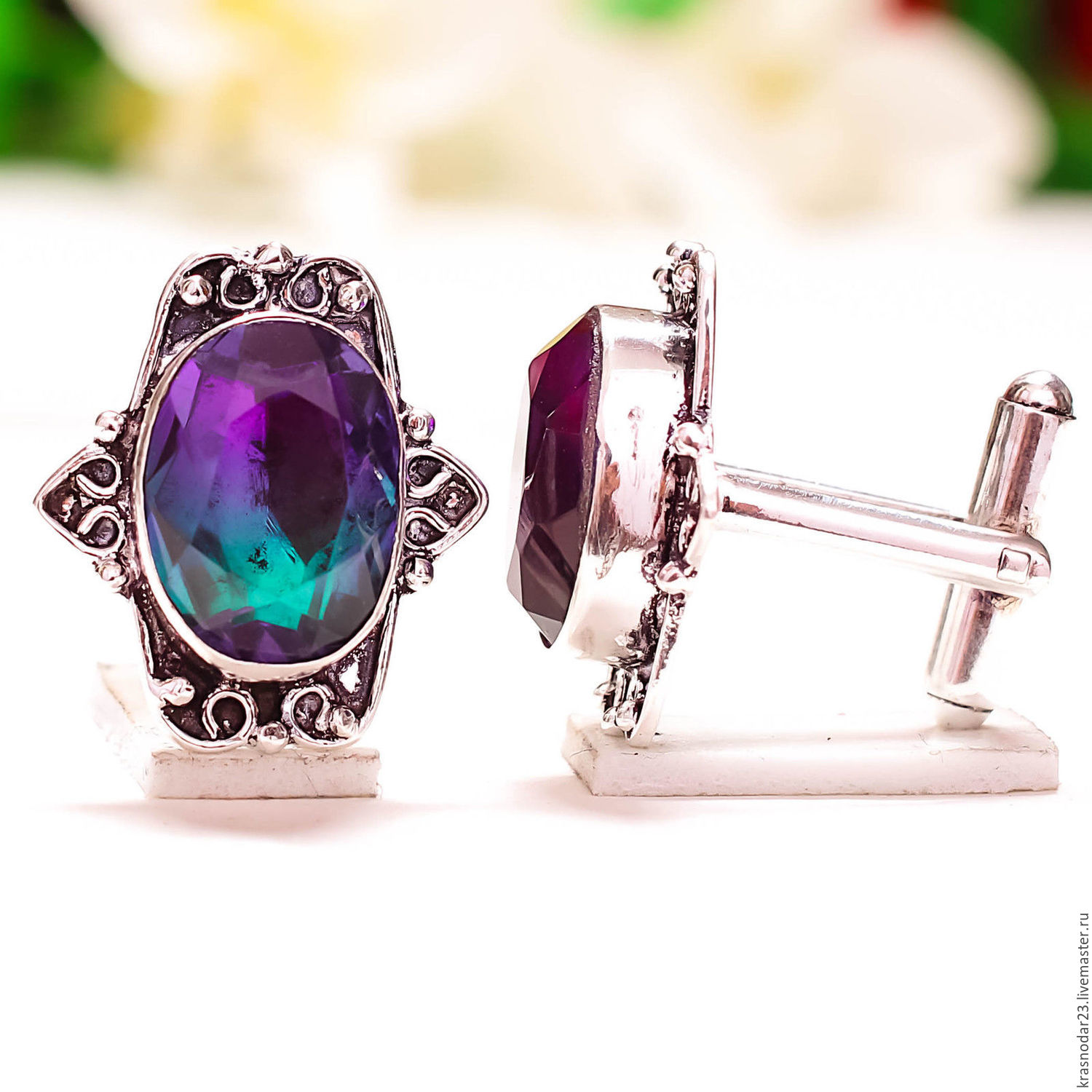 Cufflinks sterling SILVER 925 with black, and decorated with natural multicolored tourmaline