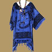 Одежда ручной работы. Ярмарка Мастеров - ручная работа Синяя туника ЭТНИКА  платье, батик, свободный летний оверсайз. Handmade.
