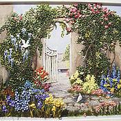 Картины и панно ручной работы. Ярмарка Мастеров - ручная работа Картина вышитая лентами Сказочный пейзаж. Handmade.
