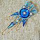 """Броши ручной работы. Ярмарка Мастеров - ручная работа. Купить Брошь """"Bermuda Blue"""". Handmade. Синий, Сваровски, брошь, стильный"""