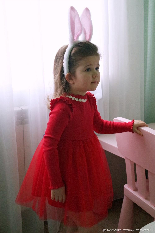 Платье детское нарядное красное с фатином, трикотаж, Платья, Санкт-Петербург, Фото №1