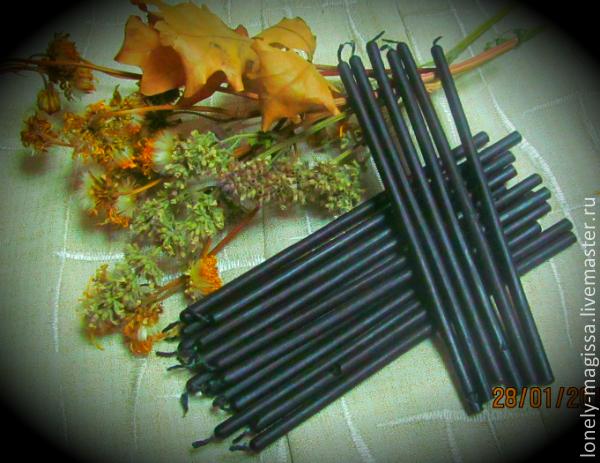 Свечи черные, натуральный воск, с эфирным маслом полыни, Масло, Сочи,  Фото №1