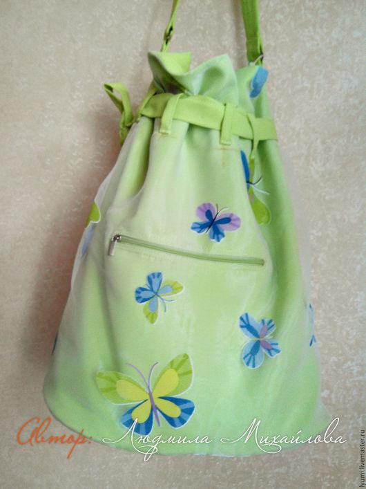 Женские сумки ручной работы. Ярмарка Мастеров - ручная работа. Купить Сумка-торба из органзы. Handmade. Салатовый, габардин