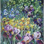 Ирисы цветут. Картина маслом