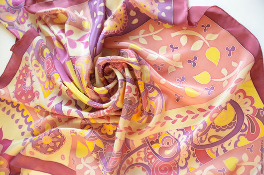 """Шали, палантины ручной работы. Ярмарка Мастеров - ручная работа. Купить Платок с ручной росписью """"Пряник с повидлом"""".. Handmade. Платок"""