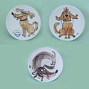 """Картины и панно ручной работы. Ярмарка Мастеров - ручная работа """"Собачки"""", декоративные тарелочки. Handmade."""