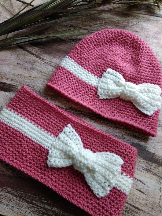 Шапки и шарфы ручной работы. Ярмарка Мастеров - ручная работа. Купить Комплект осенний для девочки,шапка+снуд. Handmade. Коралловый