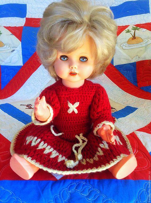 Винтажные куклы и игрушки. Ярмарка Мастеров - ручная работа. Купить Винтажная кукла 60-е гг в вязаном платье, спящие глазки. Handmade.