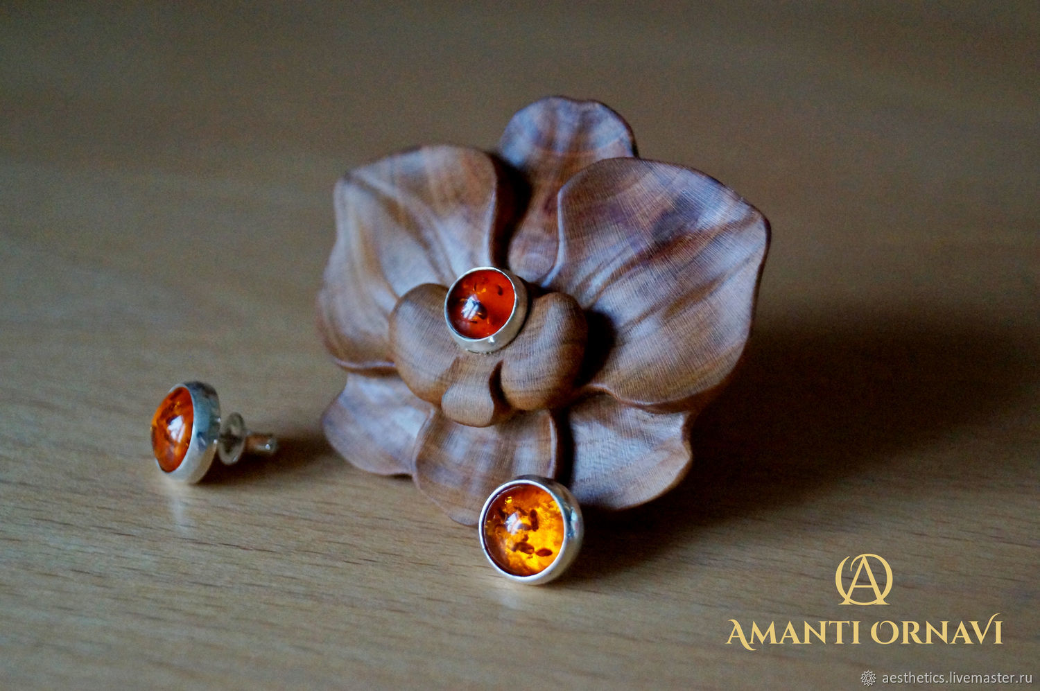 Set ring earrings studs set Orchid with amber, Jewelry Sets, Rostov,  Фото №1