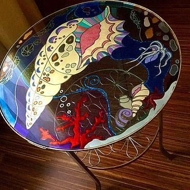 Мебель ручной работы. Ярмарка Мастеров - ручная работа Стеклянный стол Морская Раковина. Handmade.