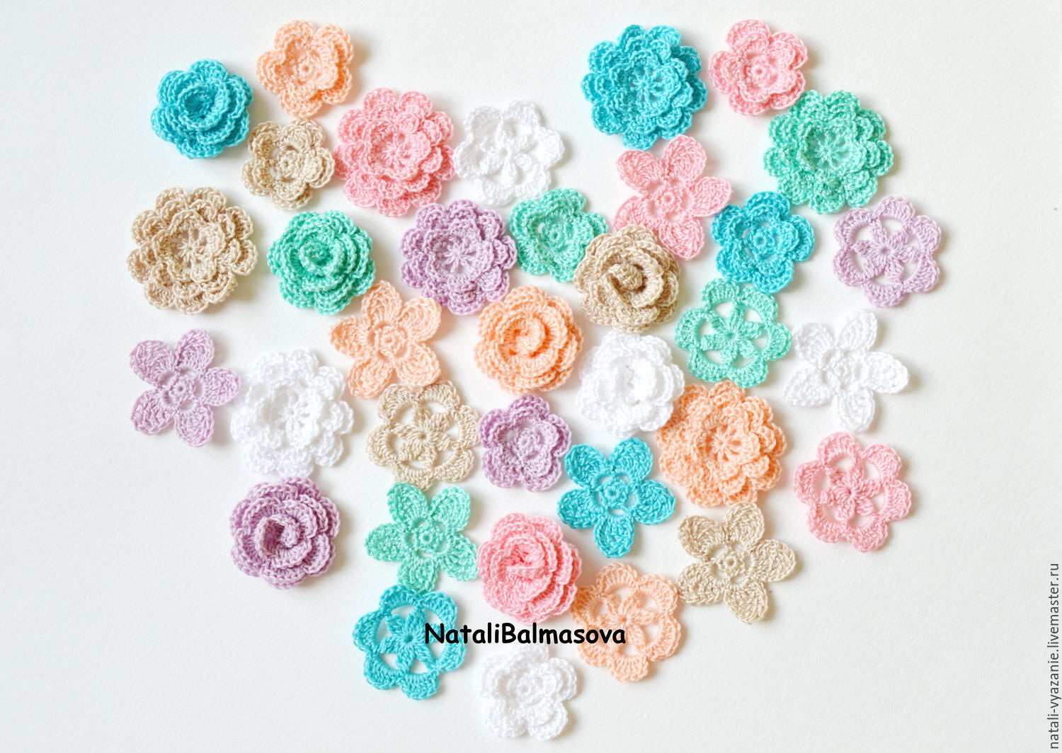 Shabby knitted flowers in the set, Flowers artificial, Sosnovyj Bor,  Фото №1